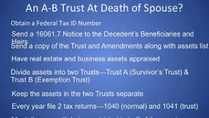What A Surviving Spouse Has to Do to Receive Benefits With an AB Trust