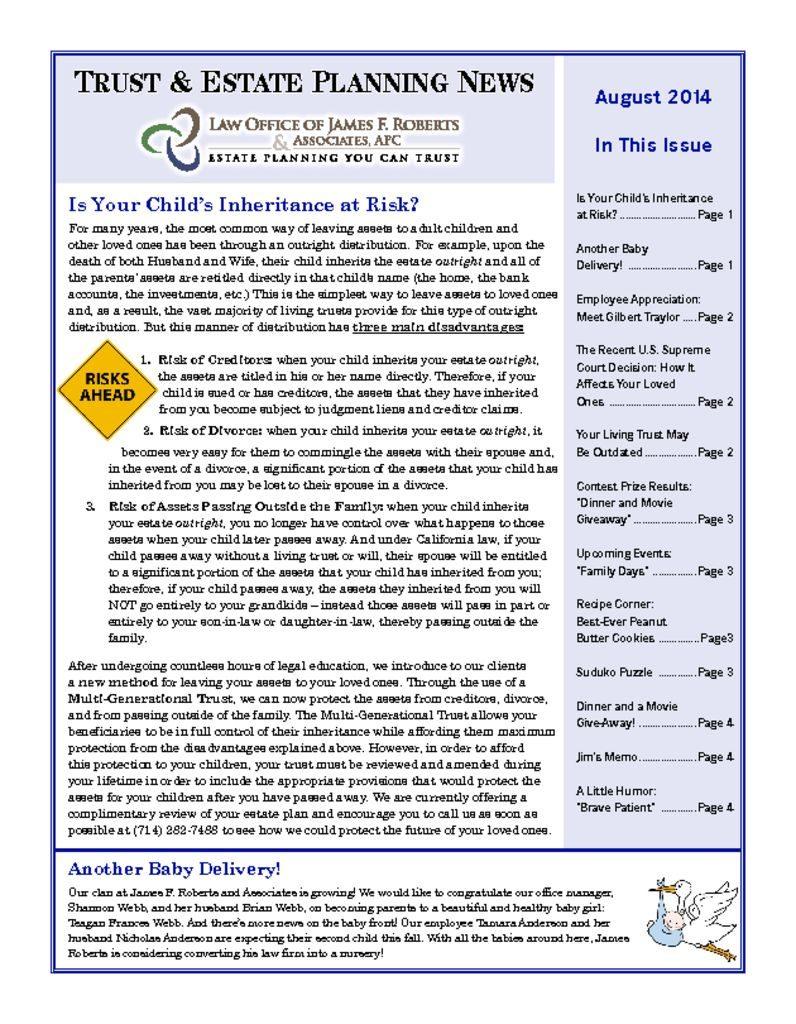 thumbnail of Newsletter-August-2014