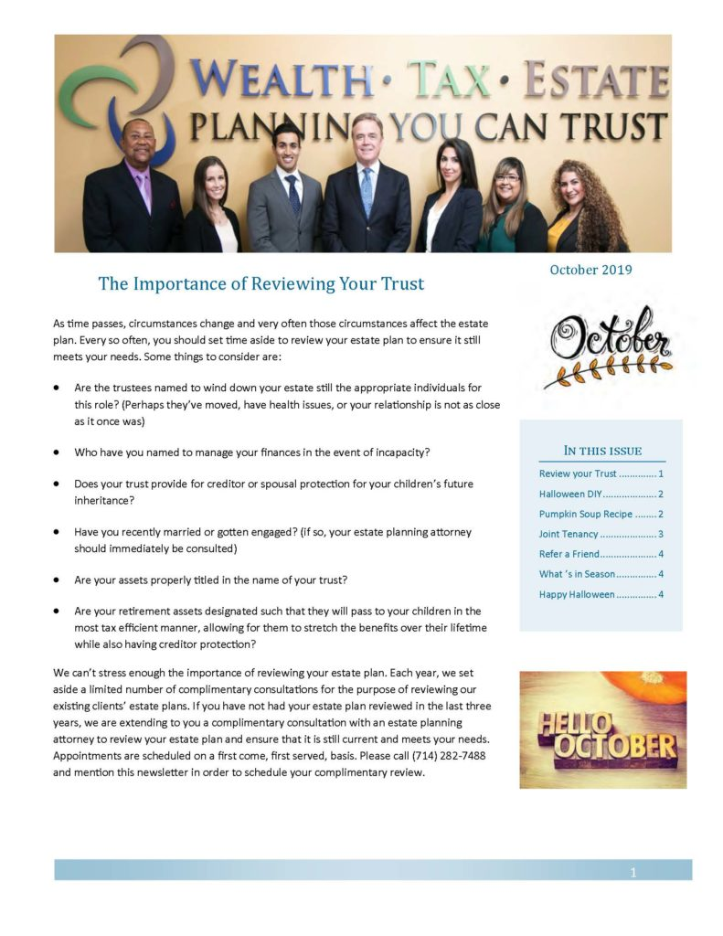 October 2019 Newsletter