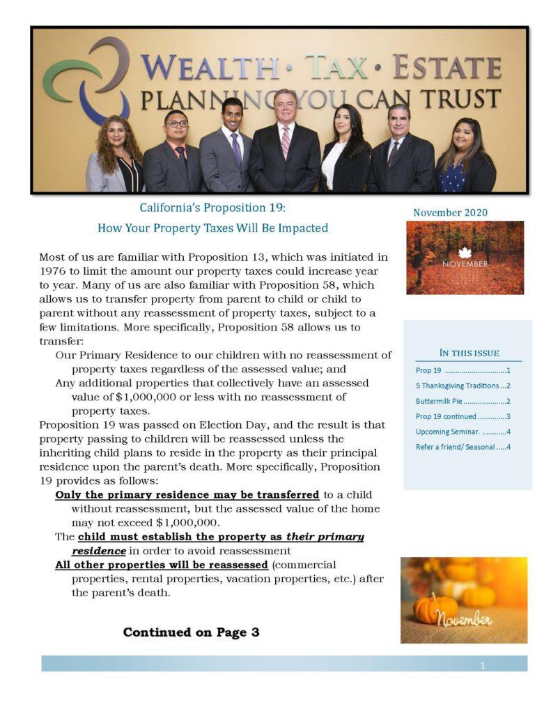 November 2020 Newsletter
